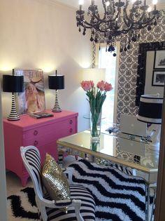 Molly Kate's ARTeriors pink black and white feminine home office #KBHome #SanAntonio