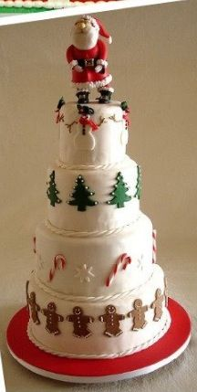 #deledesserts #dessert Love this for Christmas wedding, but with Mrs Claus too! Christmas snow cake!!