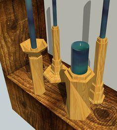 Twist Douglas Fir: CNC-cut Candlesticks ©2013heathertrossmandesign