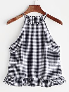 Gingham Buttoned Keyhole Back Frill Halter Top Shop Gingham Buttoned Keyhole Back Frill Halter Top online. SheIn offers Gingham Buttoned Keyhole Back Frill Halter Top & more to fit your fashionable needs. Halter Tops, Cami Tops, Summer Outfits, Cute Outfits, Mode Top, Summer Tank Tops, Blouse Designs, Blouses For Women, Gingham
