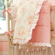 Shabby Chenille Crib Comforter made with care in the USA by Carousel Designs. Peach Nursery, Chic Nursery, Vintage Nursery, Girl Nursery, Girl Room, Baby Room, Baby Girl Crib Bedding, Baby Girl Quilts, Nursery Bedding