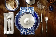 BLUE CHRISTMAS: I'm a sucker for blue transferware dishes, and this is a fab lesson in how effortlessly they lend themselves to mixing-and-matching. Photography courtesy of HomeSense.