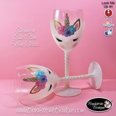 Hand Painted Wine Glass - Unicorn Face - Personalized and Custom Painted Wine Glasses, Coffee Mugs & Ornaments by BrushStrokeBoutique on Etsy https://www.etsy.com/listing/601291543/hand-painted-wine-glass-unicorn-face