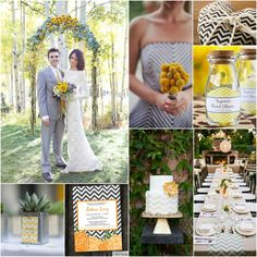 Chic Wedding with a modern color palette of black, grey, white and yellow with chevron!