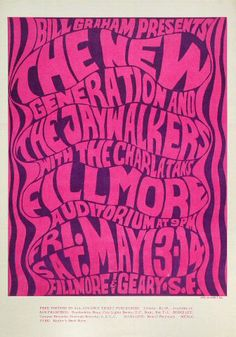 The Art That Defined a Generation. Wes Wilson, the father of the rock concert poster, took what was understood about promotional art and turned it inside-out. Learn more about his art, his life, and browse Wes Wilson originals in the shop. Poster Art, Kunst Poster, Typography Poster, Poster Prints, Psychedelic Art, Psychedelic Typography, Rock Posters, Band Posters, Hippie Posters