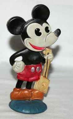 Super celluloid Mickey Mouse wind-up nodder toy (1930's)