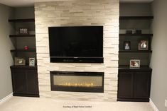 Home Theater Setup with Home Theater Seating Tv Above Fireplace, Linear Fireplace, Wall Mount Electric Fireplace, Fireplace Built Ins, Fireplace Remodel, Modern Fireplace, Fireplaces With Tv Above, Electric Fireplaces, Stone Fireplaces