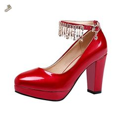Latasa Womens Fashion Ankle-Strap Chunky High Heel Dress Pumps Shoes (4.5, red) - Latasa pumps for women (*Amazon Partner-Link)