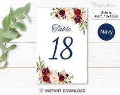 Wedding Table Numbers Floral Table Numbers Printable Wedding | Etsy Free Invitation Templates, Invitations, Blue Wedding, Floral Wedding, Number Templates, Printable Numbers, Online Print Shop, Envelope Liners, Wedding Table Numbers