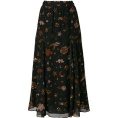Coach Outerspace print skirt ($811) ❤ liked on Polyvore featuring skirts, black, metallic pleated skirt, metallic skirt, patterned skirts, knee length pleated skirt and pattern pleated skirt