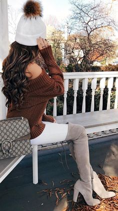 #winter #fashion / White Beanie + Brown Off Shoulder Knit + White Skinny Jeans