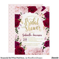 4db3f0b176d3 Burgundy Red Wine Pink Roses Bridal Shower Invitation Burgundy Red Wine