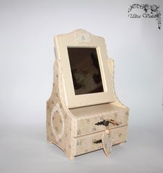 Chest / mini chest of drawers with mirror, jewelery box, or, box , boxes, wood, for jewelery