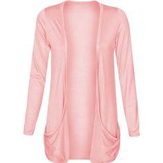 Fashion Wardrobe Womens Long Sleeves Drop Pocket Boyfriend Cardigan Ladies Open Casual Tops 8-14 (USA 6-8 / UK 6-10 (S/M), Light Pink)