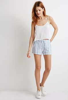 Life in Progress Striped Linen-Blend Shorts   Forever 21 - 2002247393