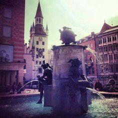 Fountains and spires in Marienplatz, Munich, Germany. #lonelyplanet