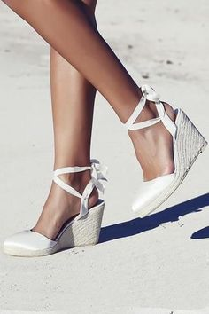 Our Best Selling Gypsy Queen Espadrille Wedges. Ivory silk front, ribbon ties and a wedge heel. The perfect comfortable bridal shoes. For the Beach Bride, Garden Bride or Indoor Bride. Shop now! Discount code FSPINTEREST to receive 5% off: foreversoles.com
