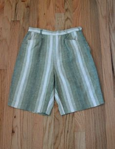 Evan Picone Shorts, Vintage Shorts, Cotton Linen, Tweed Ride, Green Shorts, Stripped Shorts, Better Made Shorts, Size Small, 70s Shorts by BuffaloGalVintage on Etsy