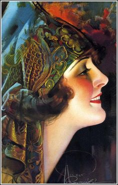Illustration by Rolf Armstrong (1889 – 1960) American Illustrator and painter