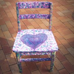 """Child's Heart Chair by Jane Fileccia  - Colorful wooden child's chair with heart painted on seat. Dimensions: 15"""" floor to seat, 27-1/2"""" floor to top of back. Colors: Green, Blue, Purple   Weight: 13 pounds Price: $75 plus shipping/handling. On Artful Vision, a portion of your purchase is donated to a participating non-profit of your choice. #chair #kids #heart"""
