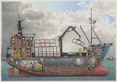 This crabber is a composite of several house-aft Bering Sea crab boats. The drawing shows the fish holds loaded with red king crab, the engine room, the fo'c'sle, crab block, deck crane, foremast with picking boom, the pots on deck, the wheelhouse and galley, and the crew working on deck. Another crew member is raiding the fridge, and the slippered skipper appears to be sneaking in a hand of solitaire on the computer.There will be 500 signed and numbered prints in this limit...