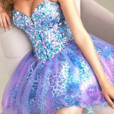 A Pretty Purple Blue Sparkly Prom Dress