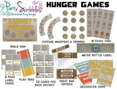 For program ideas. Hunger Games Inspired Party Package Printable with Banner & Activity Ideas. $25.00, via Etsy.