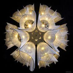 willowlamp, contemporary chandelier, bespoke lighting, sculptural lighting, Windchime light chandelier