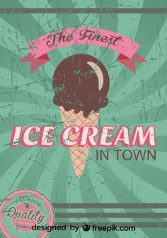 Cartel de helado retro grunge de la mejor calidad Vector Gratis