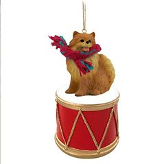 Pomerainian Red Dog Drum Christmas Ornament w/Gold String & Scarf