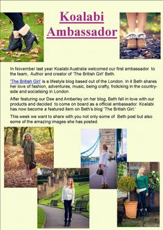 In November last year Koalabi Australia welcomed our first ambassador  to the team,  Author and creator of 'The British Girl' Beth. Visit  http://www.thebritishgirl.co.uk and search koalabi