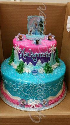 Frozen cake 2 tier buttercream.  Let it go