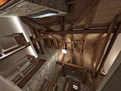 CHALUPA ALBRECHTICE LOFT 3D VIEW Loft, 3d, Interior, Indoor, Lofts, Interiors, Attic Rooms, Attic, Mezzanine