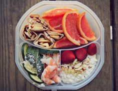 Little Lunch Wednesday!1/4 cup cottage cheese with strawberries and almond slivers, cucumber with parmesan, whole med cooked shrimp, 1/2 grapefruit and apple desert wrap