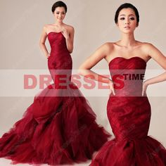 Red wedding dress - Stunning sexy mermaid wedding gown / sweetheart tulle informal bridal gown / vintage wine wedding dress 2013 on Etsy, $279.99