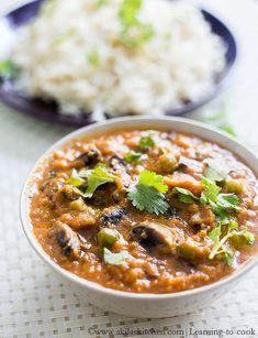 Mushroom Matar Curry | Mushroom Green Peas Curry Recipe