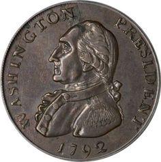 1792 Washington-Hancock Pattern Cent, Plain Edge