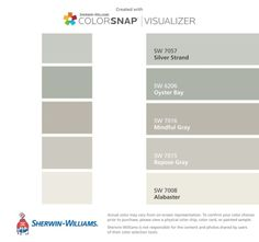 Joanna Gaines colors we can all afford. Let's make our homes Johanna chic Sherwin-Williams: Silver Strand (SW Oyster Bay (SW Mindful Gray (SW Repose Gray (SW Alabaster (SW Interior Paint Colors For Living Room, Exterior Paint Colors, Paint Colors For Home, Garage Paint Colors, Fixer Upper Paint Colors, Brown Paint Colors, Neutral Paint, Gray Paint, Paint Colours