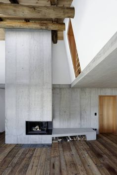 concrete fireplace and wood by bgs & partner architekten Concrete Fireplace, Concrete Wood, Home Fireplace, Decorative Concrete, Raw Wood, Detail Architecture, Interior Architecture, Interior And Exterior, Decoration Inspiration