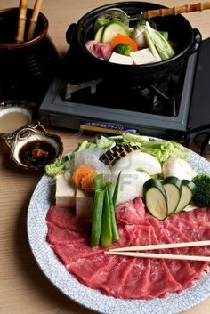 Picture of Japanese Cuisine stock photo, images and stock photography. Japanese Sushi, Japanese Dishes, Good Food, Yummy Food, Fun Food, Shabu Shabu, Food Obsession, Hot Pot, Korean Food
