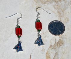 Sterling Silver and crystal christmas tree earrings, red and green earrings, xmas tree earrings, swarovski earrings, christmas earrings by KarmaKittyJewelry on Etsy