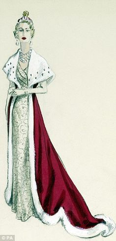 Royal Collection Trust undated handout photo of a sketch of a  robe designed for a peeress by British couturier Norman Hartnell, the principal designer of the outfits worn at the Coronation of Queen Elizabeth II
