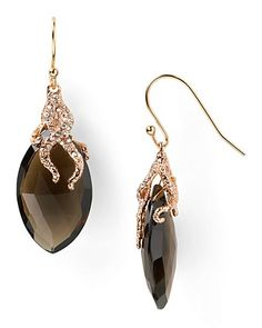 Alexis Bittar Rose Gold Vine Capped Smokey Quartz Earrings | Bloomingdale's