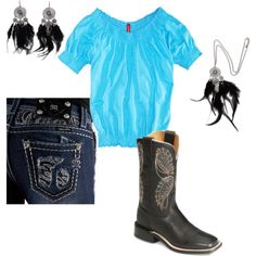 Turquoise and black, created by Karissa on Polyvore