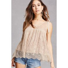 Forever21 Sheer Lace Tank Top ($35) ❤ liked on Polyvore featuring tops, blush, pink tank top, tie-dye tank tops, spaghetti-strap tank tops, strappy top and spaghetti-strap tops