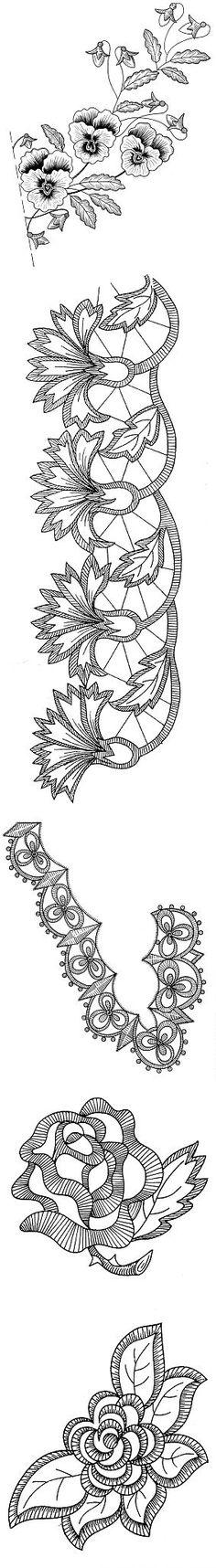 Галерея цветочных мотивов для вышивания . | ришелье бразильская вышивка | Постила