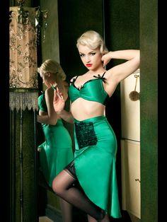 Kiss me Deadly Emerald DeVille Lingerie Skirt + Bra + Brief
