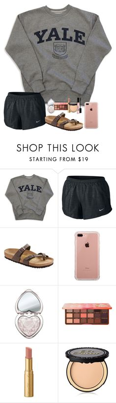 """""""first day back after spring break was hard:("""" by kellycarrick ❤ liked on Polyvore featuring NIKE, Birkenstock, Belkin and Too Faced Cosmetics"""