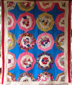 Colorful VINTAGE ANTIQUE Quilt SPIDERWEB Strip Design