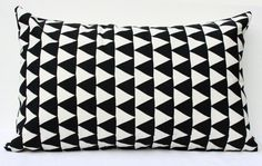 Mountains of Montana - black and natural triangle repeat pattern organic screenprinted pillow